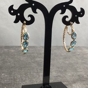 14k Blue Topaz Hoop Earrings